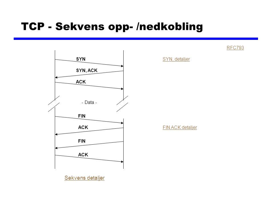 TCP - Sekvens opp- /nedkobling RFC793 SYN SYN, ACK ACK FIN ACK SYN, detaljer FIN ACK detaljer Sekvens detaljer - Data - FIN