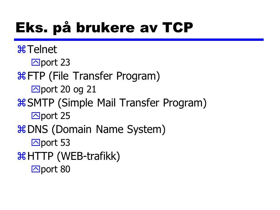 Eks. på brukere av TCP zTelnet yport 23 zFTP (File Transfer Program) yport 20 og 21 zSMTP (Simple Mail Transfer Program) yport 25 zDNS (Domain Name Sy