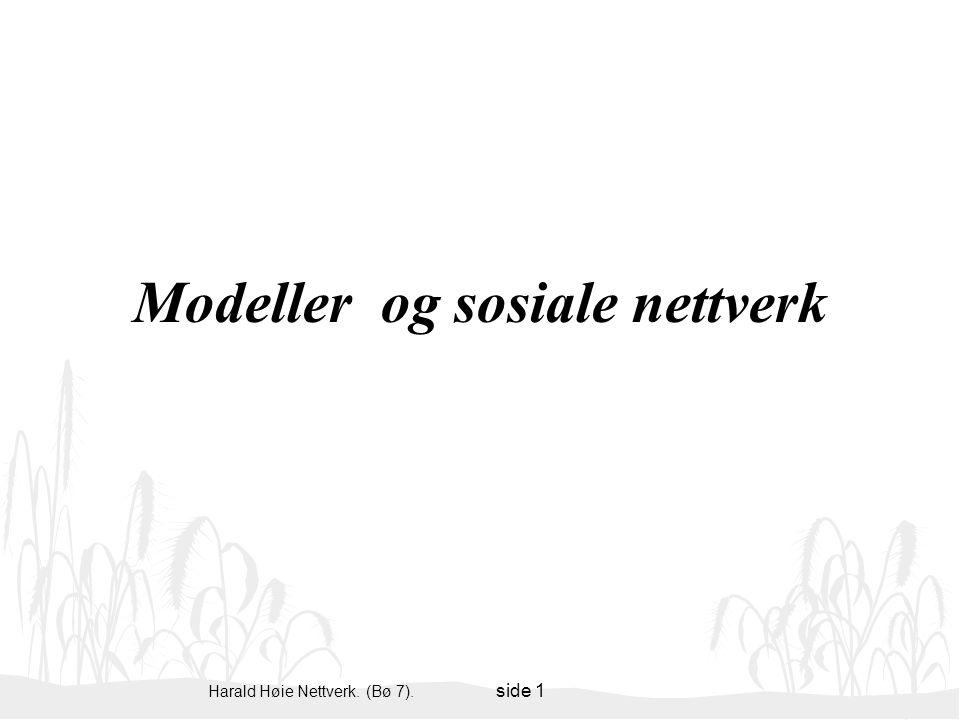 Harald Høie Nettverk. (Bø 7). side 1 Modeller og sosiale nettverk