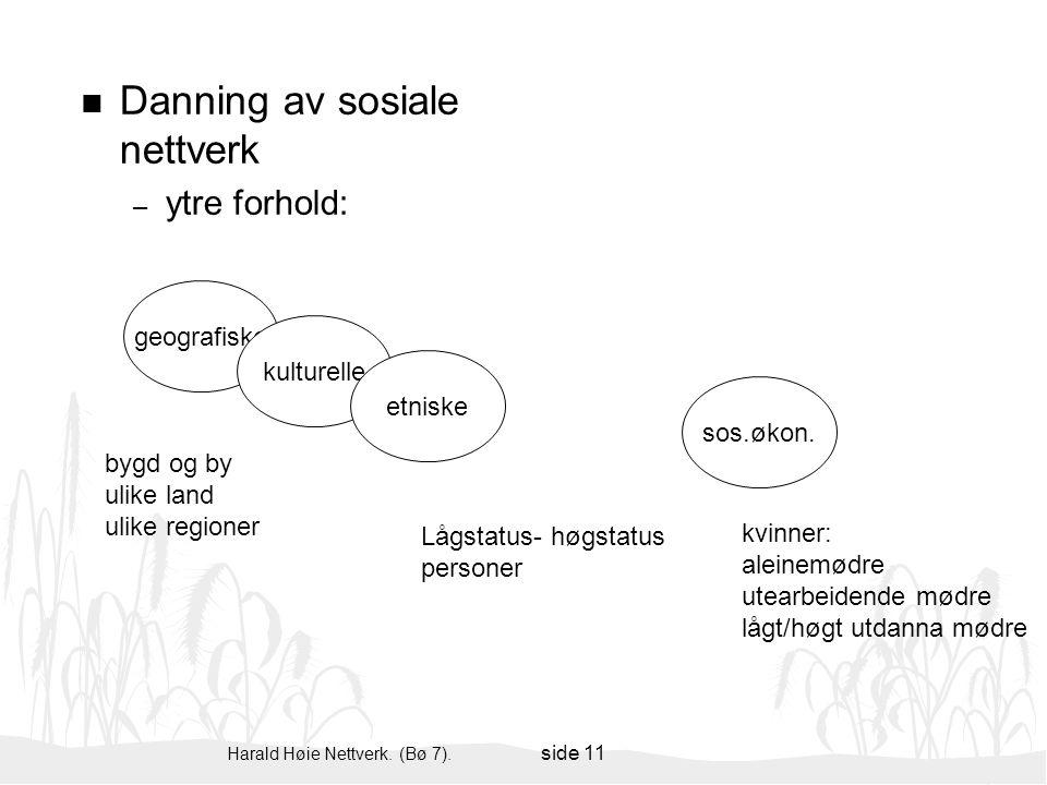 Harald Høie Nettverk. (Bø 7). side 11 n Danning av sosiale nettverk – ytre forhold: geografiske kulturelle etniske sos.økon. kvinner: aleinemødre utea