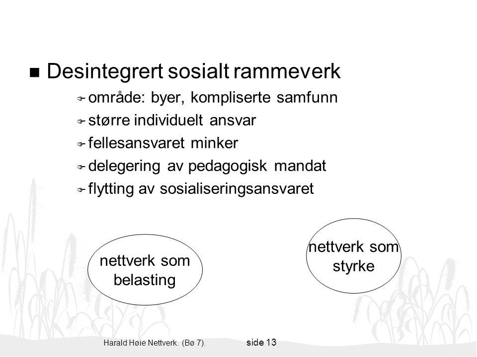 Harald Høie Nettverk. (Bø 7). side 13 n Desintegrert sosialt rammeverk F område: byer, kompliserte samfunn F større individuelt ansvar F fellesansvare