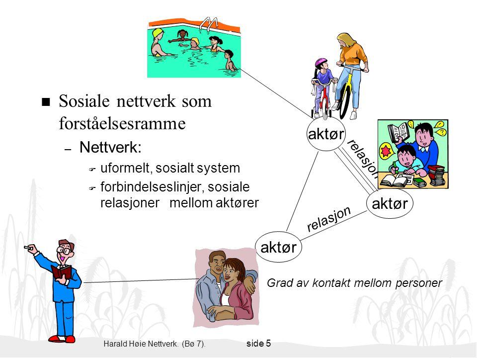 Harald Høie Nettverk. (Bø 7). side 5 Sosiale nettverk som forståelsesramme – Nettverk: F uformelt, sosialt system F forbindelseslinjer, sosiale relasj