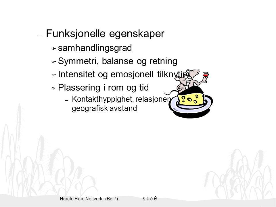 Harald Høie Nettverk. (Bø 7). side 9 – Funksjonelle egenskaper F samhandlingsgrad F Symmetri, balanse og retning F Intensitet og emosjonell tilknyting
