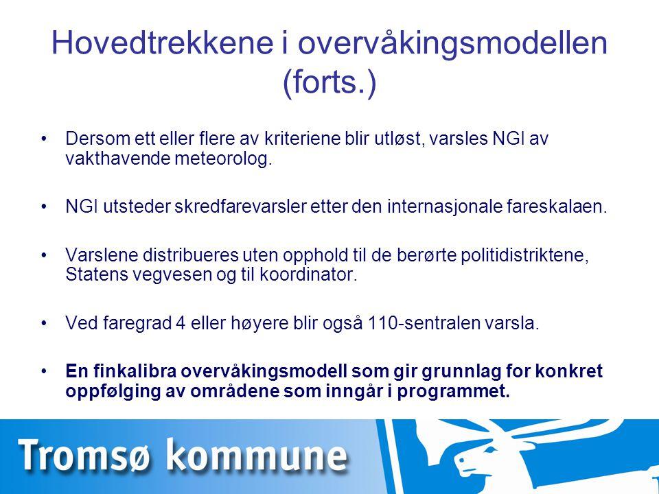 Hovedtrekkene i overvåkingsmodellen (forts.) Dersom ett eller flere av kriteriene blir utløst, varsles NGI av vakthavende meteorolog. NGI utsteder skr