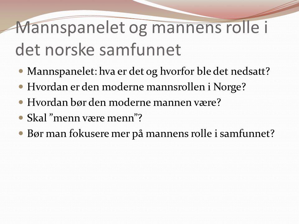Mannspanelet og mannens rolle i det norske samfunnet Mannspanelet: hva er det og hvorfor ble det nedsatt.