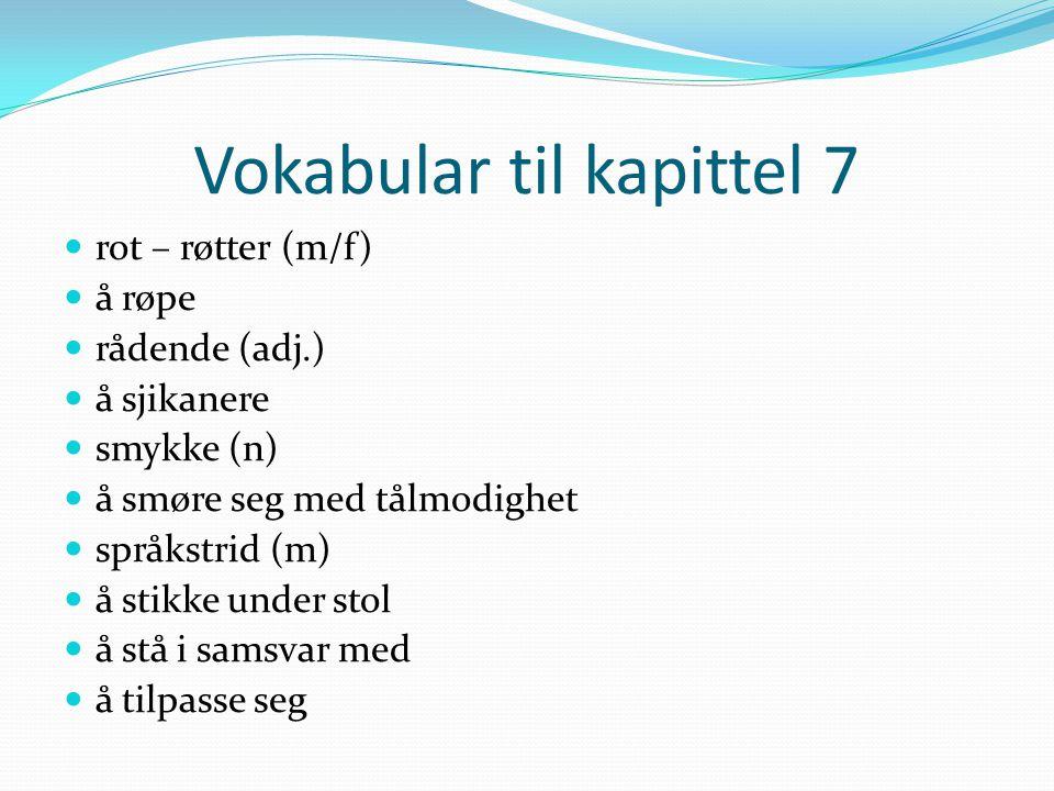 Vokabular til kapittel 7 rot – røtter (m/f) å røpe rådende (adj.) å sjikanere smykke (n) å smøre seg med tålmodighet språkstrid (m) å stikke under sto