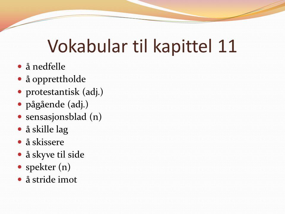 Vokabular til kapittel 11 å nedfelle å opprettholde protestantisk (adj.) pågående (adj.) sensasjonsblad (n) å skille lag å skissere å skyve til side s