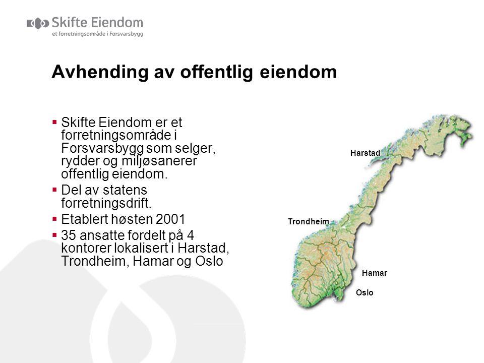 Avhending av offentlig eiendom  Skifte Eiendom er et forretningsområde i Forsvarsbygg som selger, rydder og miljøsanerer offentlig eiendom.  Del av