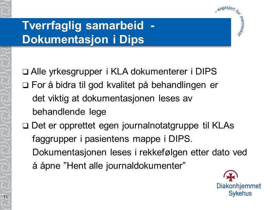 Tverrfaglig samarbeid - Dokumentasjon i Dips  Alle yrkesgrupper i KLA dokumenterer i DIPS  For å bidra til god kvalitet på behandlingen er det viktig at dokumentasjonen leses av behandlende lege  Det er opprettet egen journalnotatgruppe til KLAs faggrupper i pasientens mappe i DIPS.