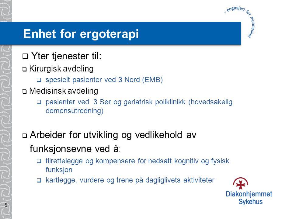 Enhet for fysioterapi  Yter tjenester til:  Medisinsk avdeling, inkl.
