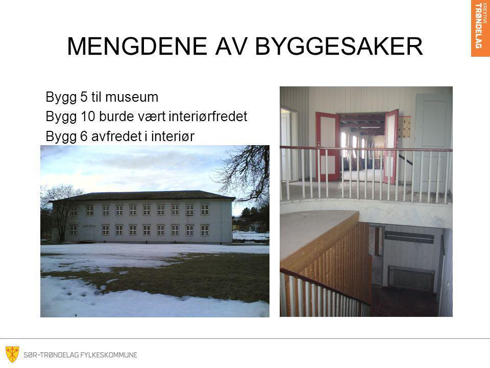 MENGDENE AV BYGGESAKER Bygg 5 til museum Bygg 10 burde vært interiørfredet Bygg 6 avfredet i interiør