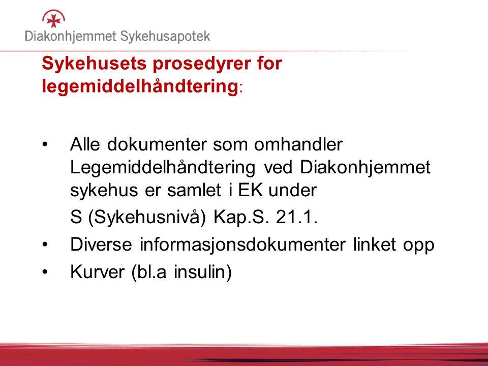 Sykehusets prosedyrer for legemiddelhåndtering : Alle dokumenter som omhandler Legemiddelhåndtering ved Diakonhjemmet sykehus er samlet i EK under S (