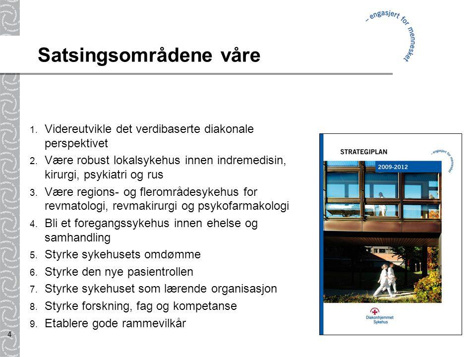 4 Satsingsområdene våre 1. Videreutvikle det verdibaserte diakonale perspektivet 2. Være robust lokalsykehus innen indremedisin, kirurgi, psykiatri og