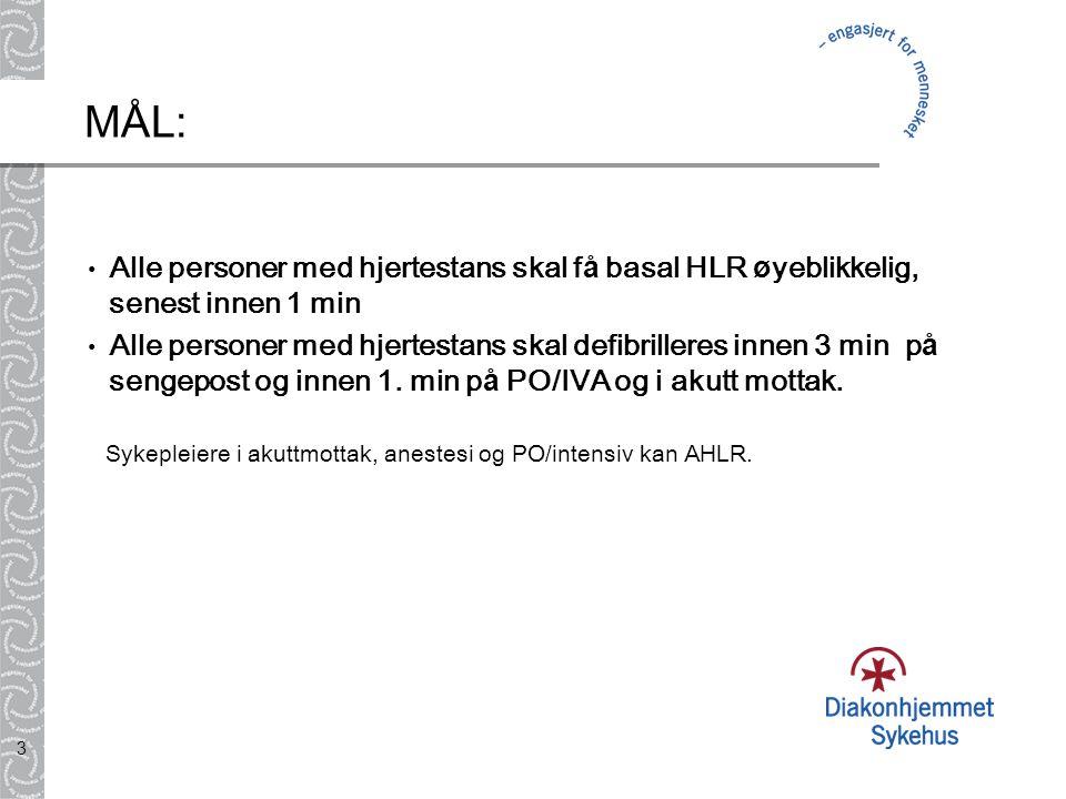 3 M Å L: Alle personer med hjertestans skal f å basal HLR ø yeblikkelig, senest innen 1 min Alle personer med hjertestans skal defibrilleres innen 3 m