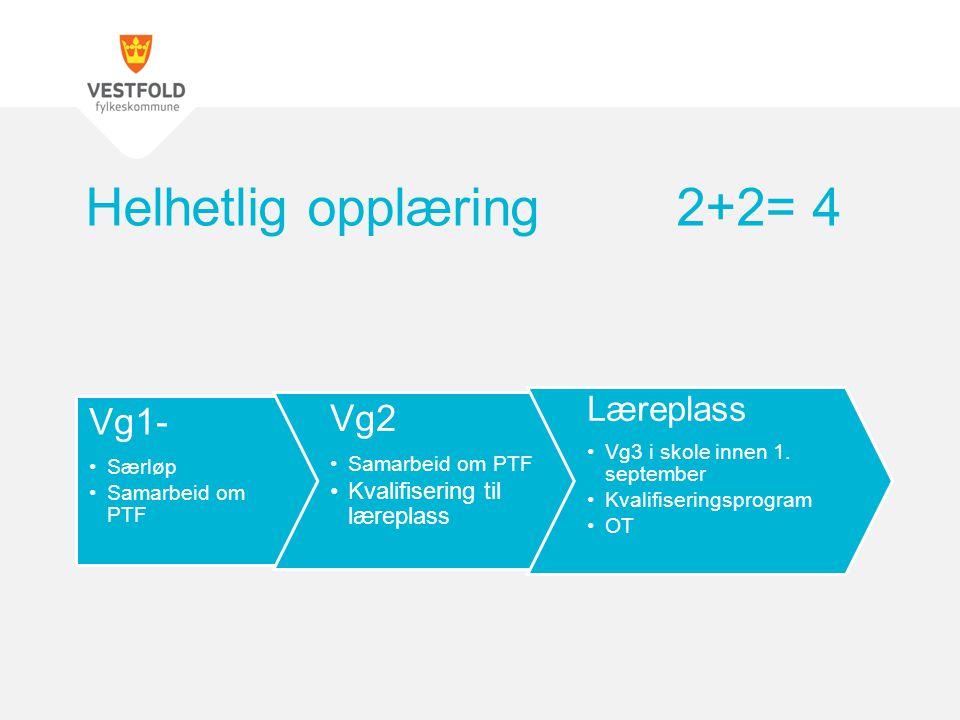 Vg1- Særløp Samarbeid om PTF Vg2 Samarbeid om PTF Kvalifisering til læreplass Læreplass Vg3 i skole innen 1.