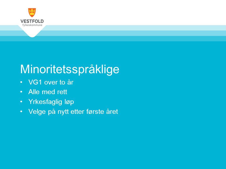 Minoritetsspråklige VG1 over to år Alle med rett Yrkesfaglig løp Velge på nytt etter første året