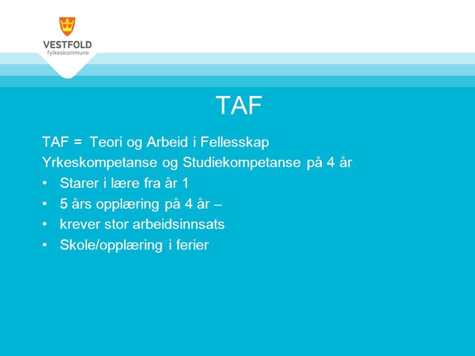 TAF TAF = Teori og Arbeid i Fellesskap Yrkeskompetanse og Studiekompetanse på 4 år Starer i lære fra år 1 5 års opplæring på 4 år – krever stor arbeidsinnsats Skole/opplæring i ferier