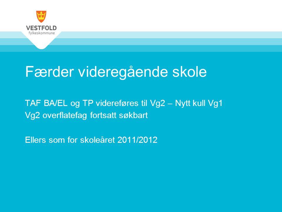 Færder videregående skole TAF BA/EL og TP videreføres til Vg2 – Nytt kull Vg1 Vg2 overflatefag fortsatt søkbart Ellers som for skoleåret 2011/2012