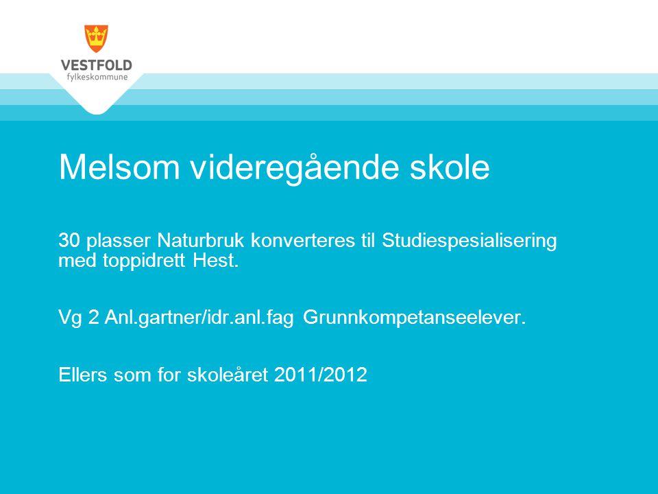 Melsom videregående skole 30 plasser Naturbruk konverteres til Studiespesialisering med toppidrett Hest. Vg 2 Anl.gartner/idr.anl.fag Grunnkompetansee