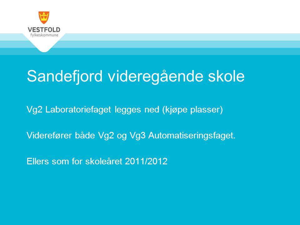 Sandefjord videregående skole Vg2 Laboratoriefaget legges ned (kjøpe plasser) Viderefører både Vg2 og Vg3 Automatiseringsfaget. Ellers som for skoleår