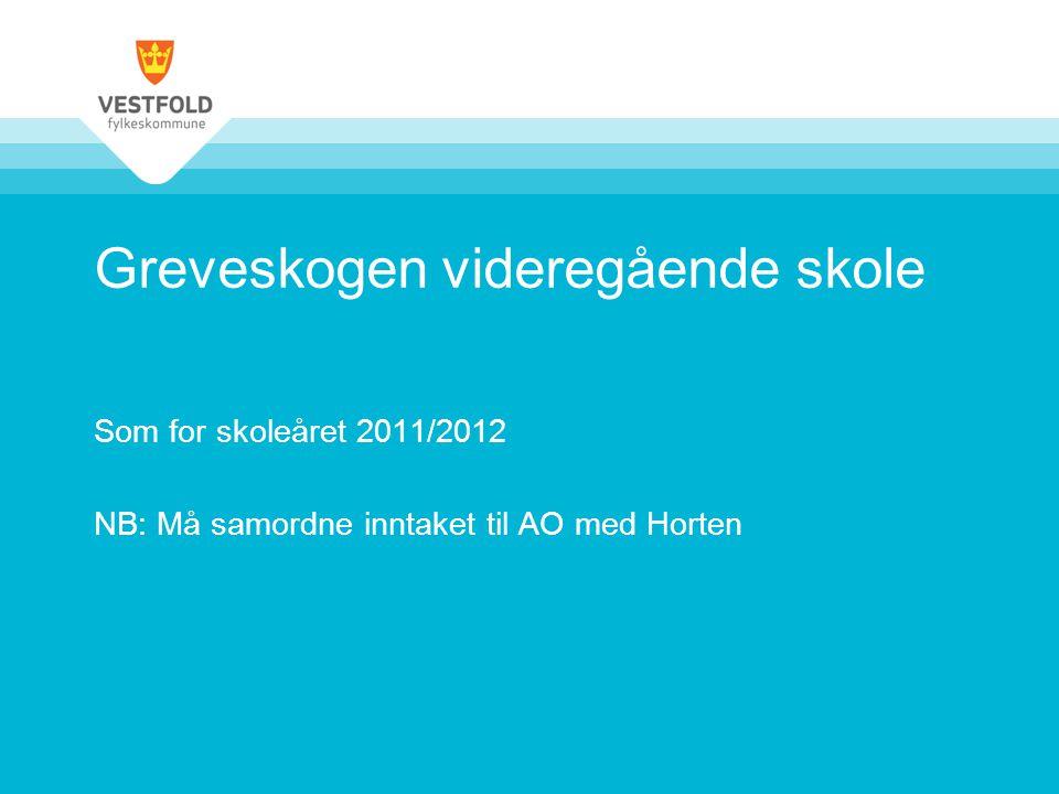 Greveskogen videregående skole Som for skoleåret 2011/2012 NB: Må samordne inntaket til AO med Horten