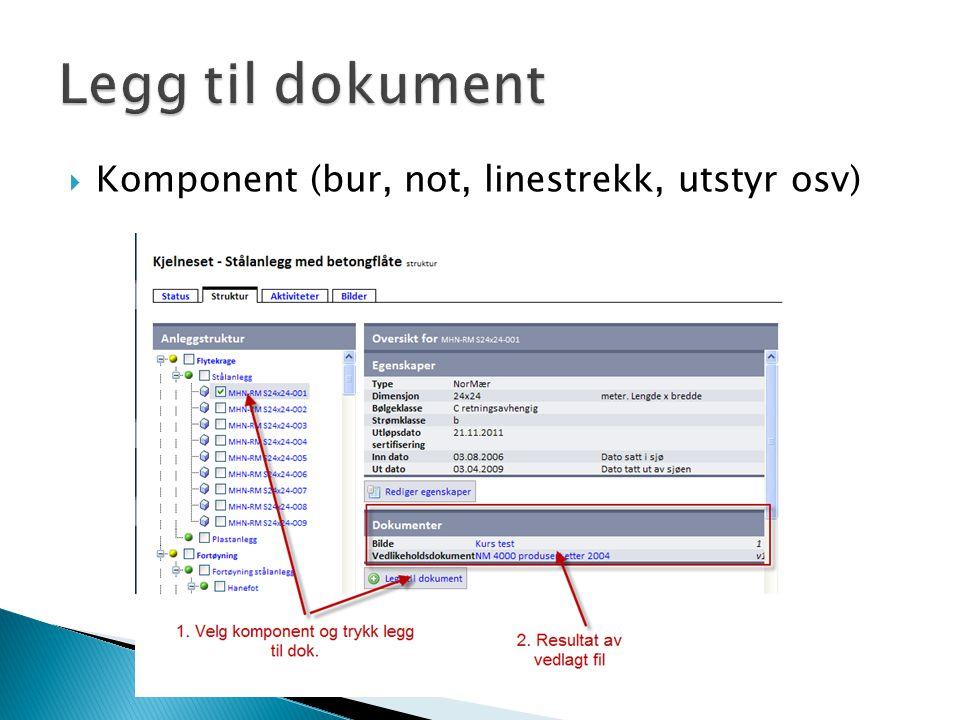  Komponent (bur, not, linestrekk, utstyr osv)