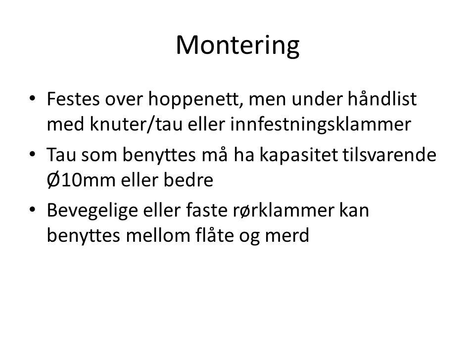 Montering Festes over hoppenett, men under håndlist med knuter/tau eller innfestningsklammer Tau som benyttes må ha kapasitet tilsvarende Ø10mm eller