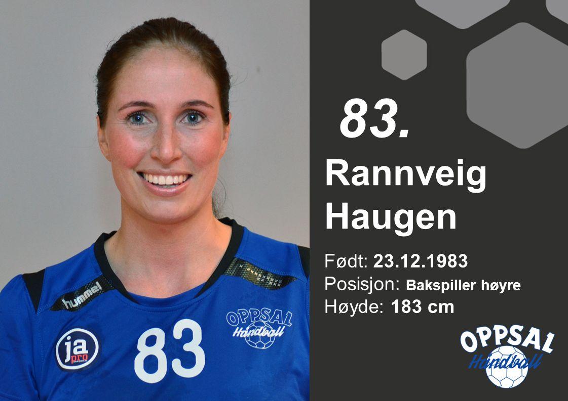 Født: 23.12.1983 Posisjon: Bakspiller høyre Høyde: 183 cm Rannveig Haugen 83.