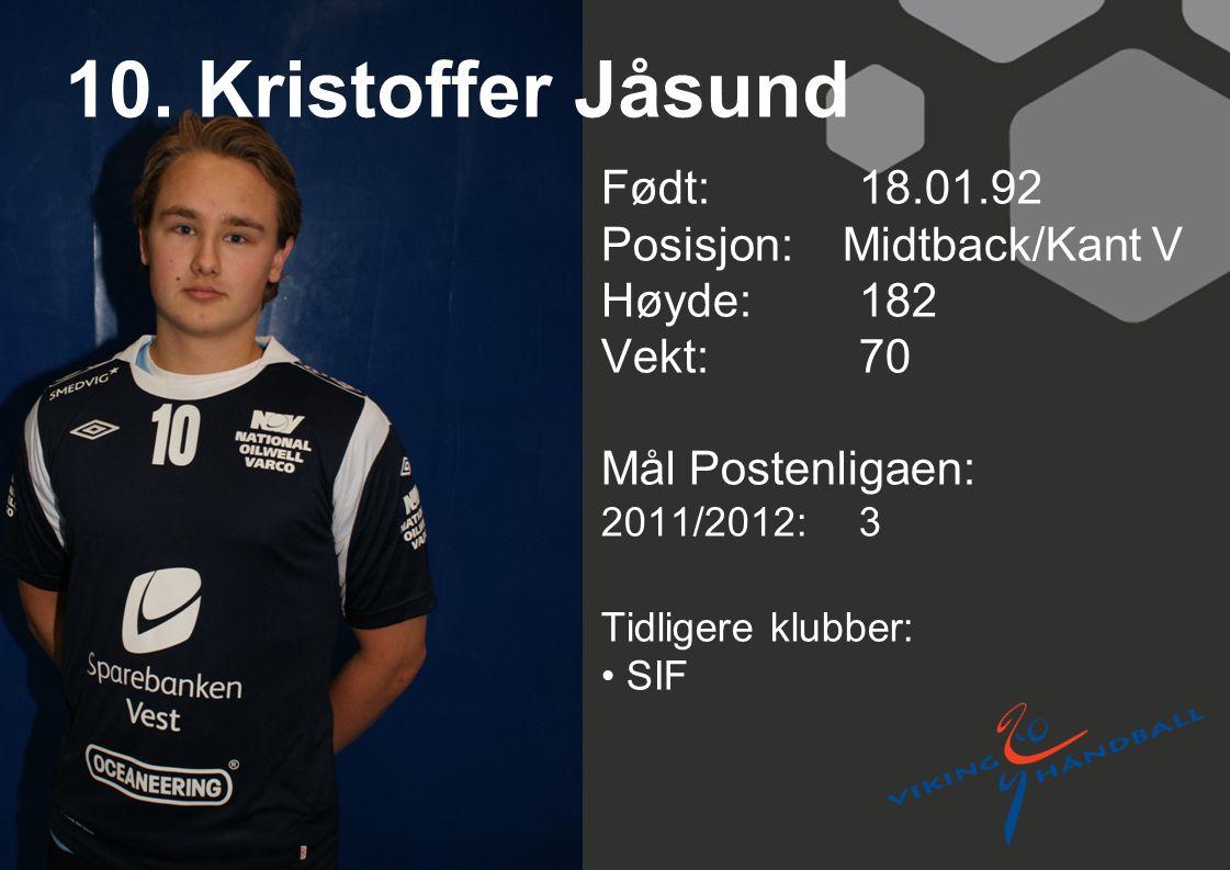 10. Kristoffer Jåsund Født: 18.01.92 Posisjon: Midtback/Kant V Høyde:182 Vekt:70 Mål Postenligaen: 2011/2012: 3 Tidligere klubber: SIF