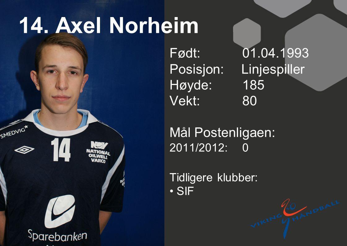 14. Axel Norheim Født: 01.04.1993 Posisjon: Linjespiller Høyde:185 Vekt:80 Mål Postenligaen: 2011/2012: 0 Tidligere klubber: SIF