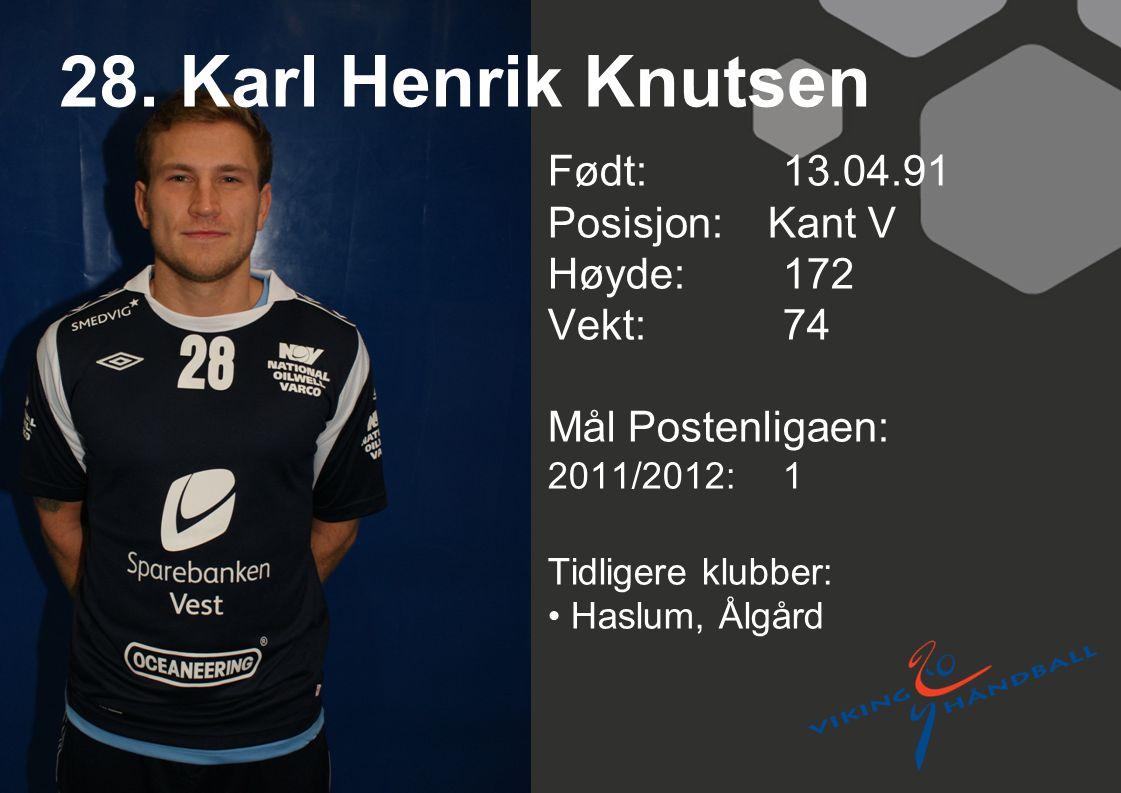 28. Karl Henrik Knutsen Født: 13.04.91 Posisjon: Kant V Høyde:172 Vekt:74 Mål Postenligaen: 2011/2012: 1 Tidligere klubber: Haslum, Ålgård
