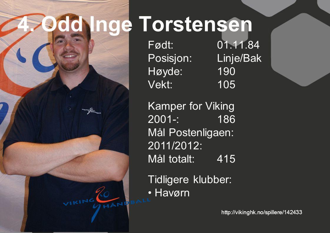 4. Odd Inge Torstensen Født: 01.11.84 Posisjon:Linje/Bak Høyde:190 Vekt:105 Kamper for Viking 2001-:186 Mål Postenligaen: 2011/2012: Mål totalt:415 Ti
