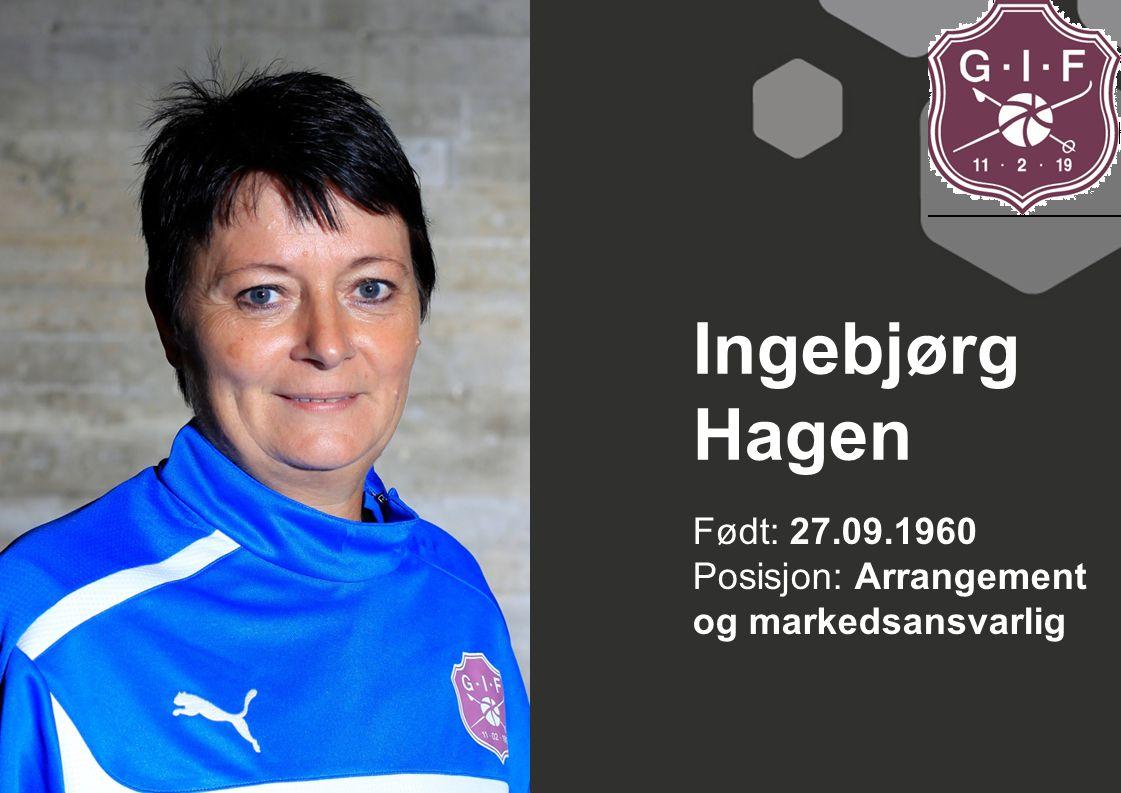 Født: 27.09.1960 Posisjon: Arrangement og markedsansvarlig Ingebjørg Hagen