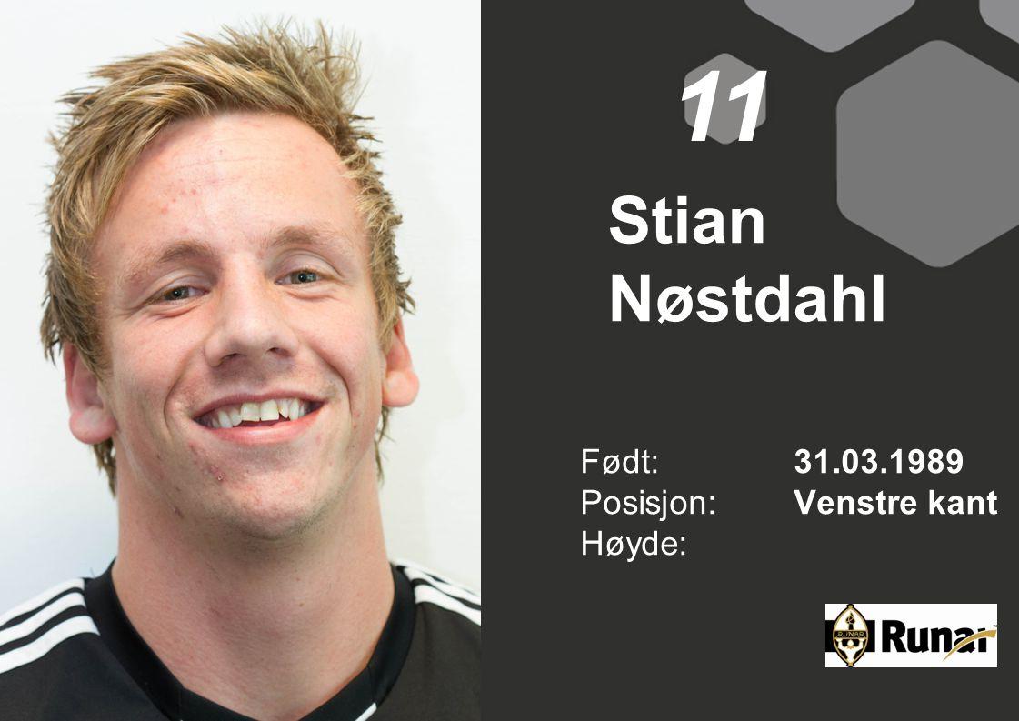 Stian Nøstdahl Født: 31.03.1989 Posisjon:Venstre kant Høyde: 11