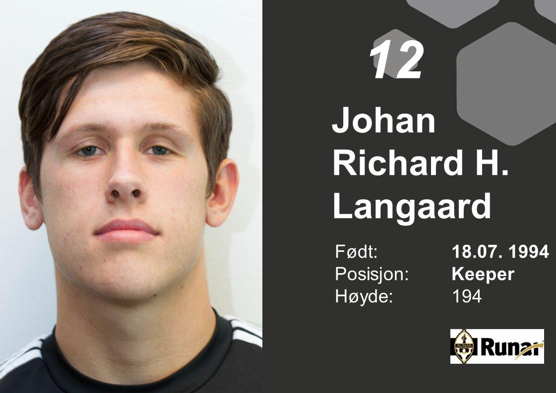 Johan Richard H. Langaard Født: 18.07. 1994 Posisjon:Keeper Høyde:194 12