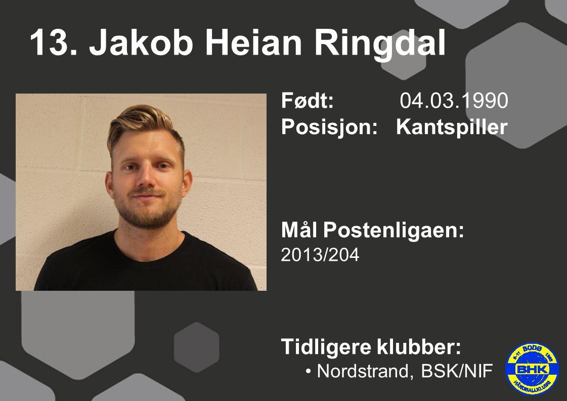 13. Jakob Heian Ringdal Født: 04.03.1990 Posisjon: Kantspiller Mål Postenligaen: 2013/204 Tidligere klubber: Nordstrand, BSK/NIF
