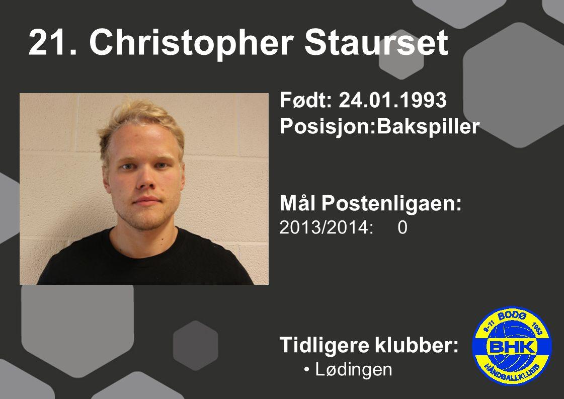 21. Christopher Staurset Født: 24.01.1993 Posisjon:Bakspiller Mål Postenligaen: 2013/2014: 0 Tidligere klubber: Lødingen