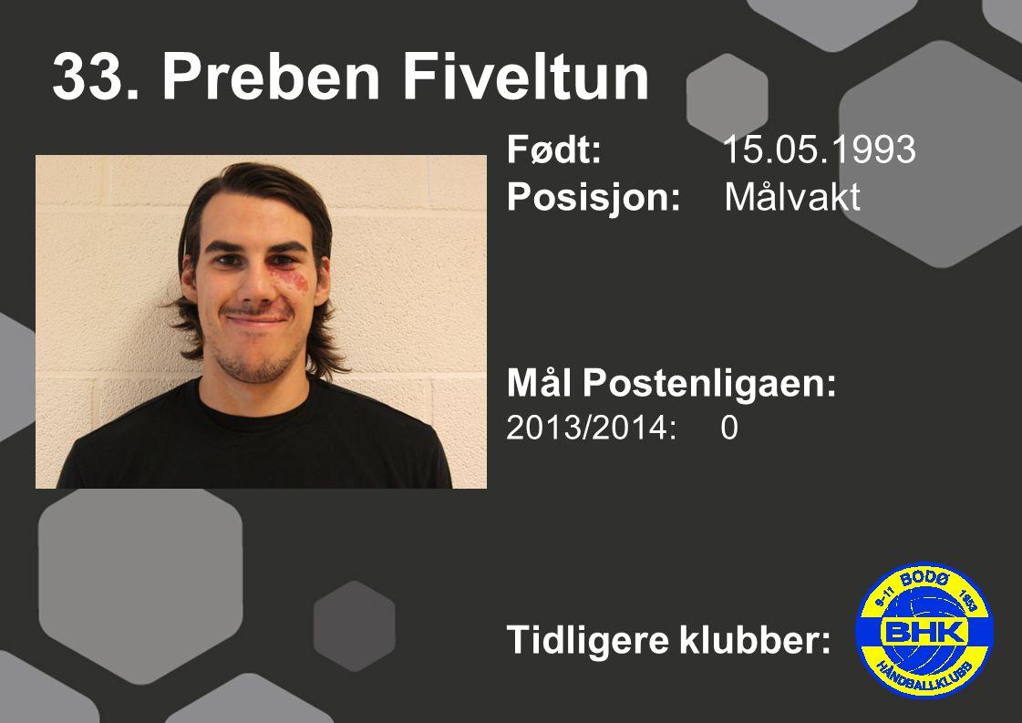 33. Preben Fiveltun Født: 15.05.1993 Posisjon: Målvakt Mål Postenligaen: 2013/2014: 0 Tidligere klubber: