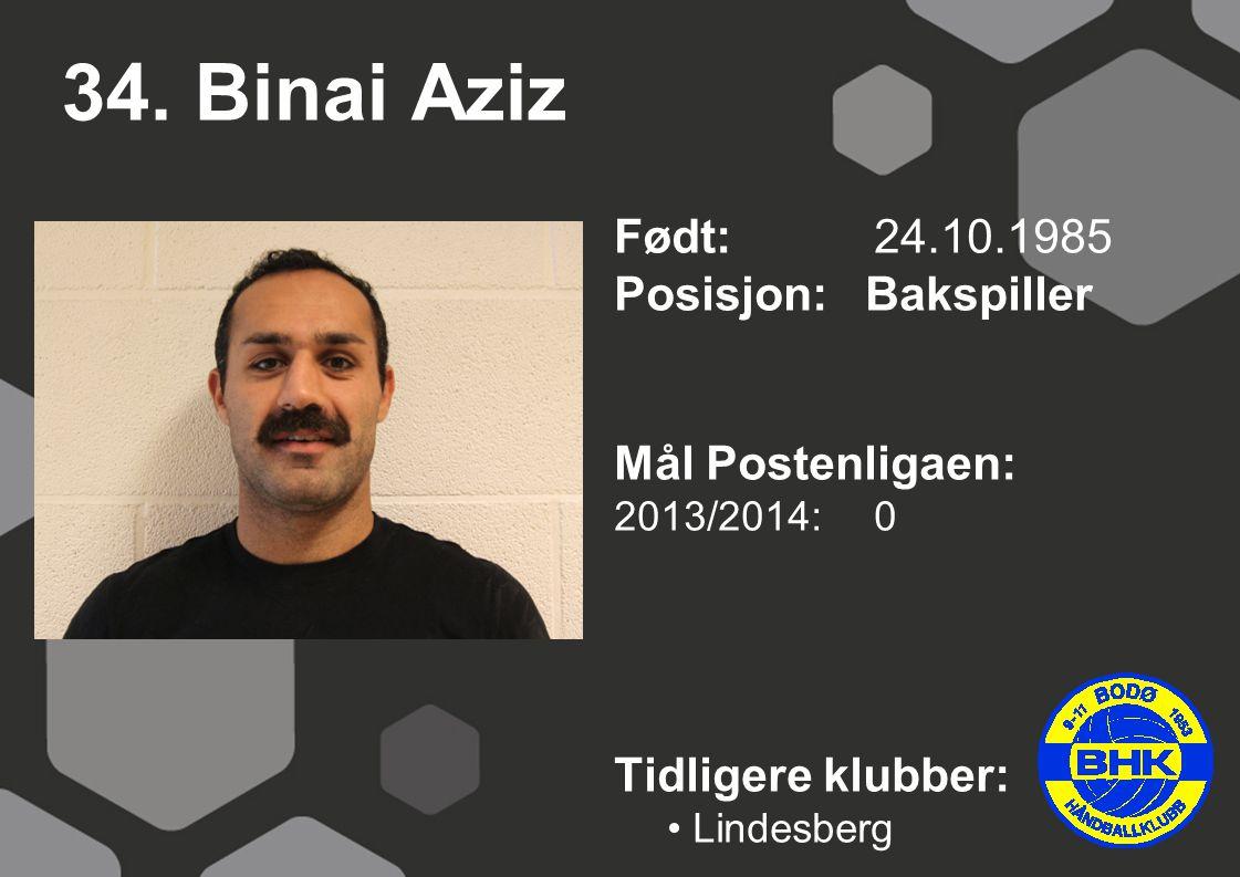 34. Binai Aziz Født: 24.10.1985 Posisjon: Bakspiller Mål Postenligaen: 2013/2014: 0 Tidligere klubber: Lindesberg