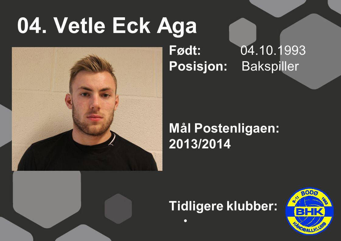 04. Vetle Eck Aga Født: 04.10.1993 Posisjon: Bakspiller Mål Postenligaen: 2013/2014 Tidligere klubber: