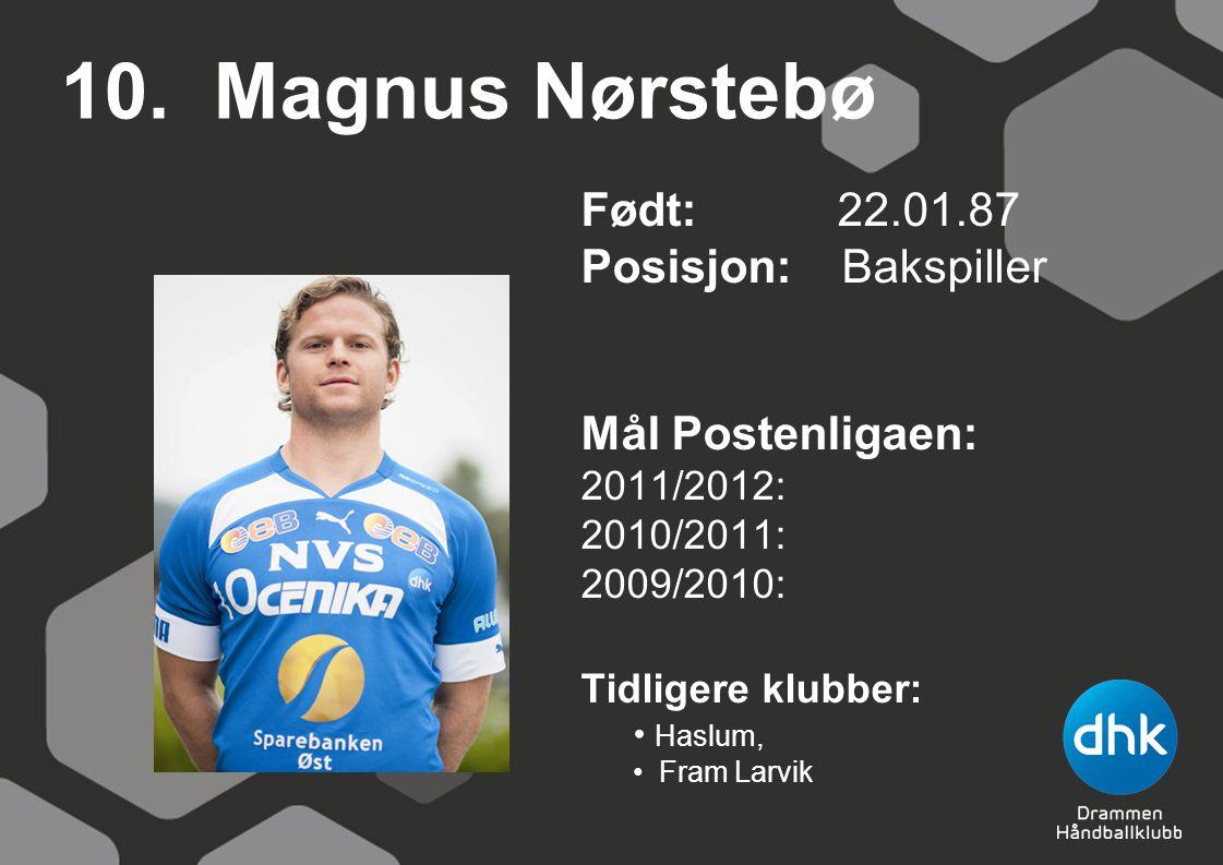10. Magnus Nørstebø Født: 22.01.87 Posisjon: Bakspiller Mål Postenligaen: 2011/2012: 2010/2011: 2009/2010: Tidligere klubber: Haslum, Fram Larvik