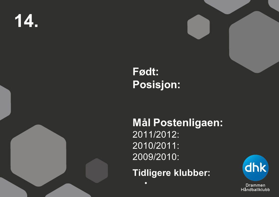 14. Født: Posisjon: Mål Postenligaen: 2011/2012: 2010/2011: 2009/2010: Tidligere klubber: