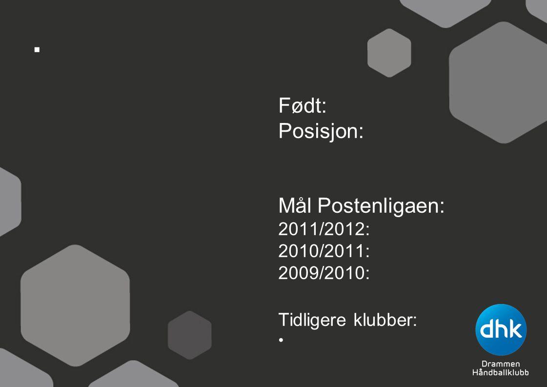 . Født: Posisjon: Mål Postenligaen: 2011/2012: 2010/2011: 2009/2010: Tidligere klubber: