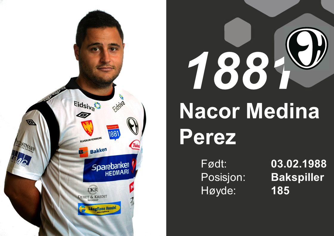 Nacor Medina Perez Født: 03.02.1988 Posisjon:Bakspiller Høyde:185 1881