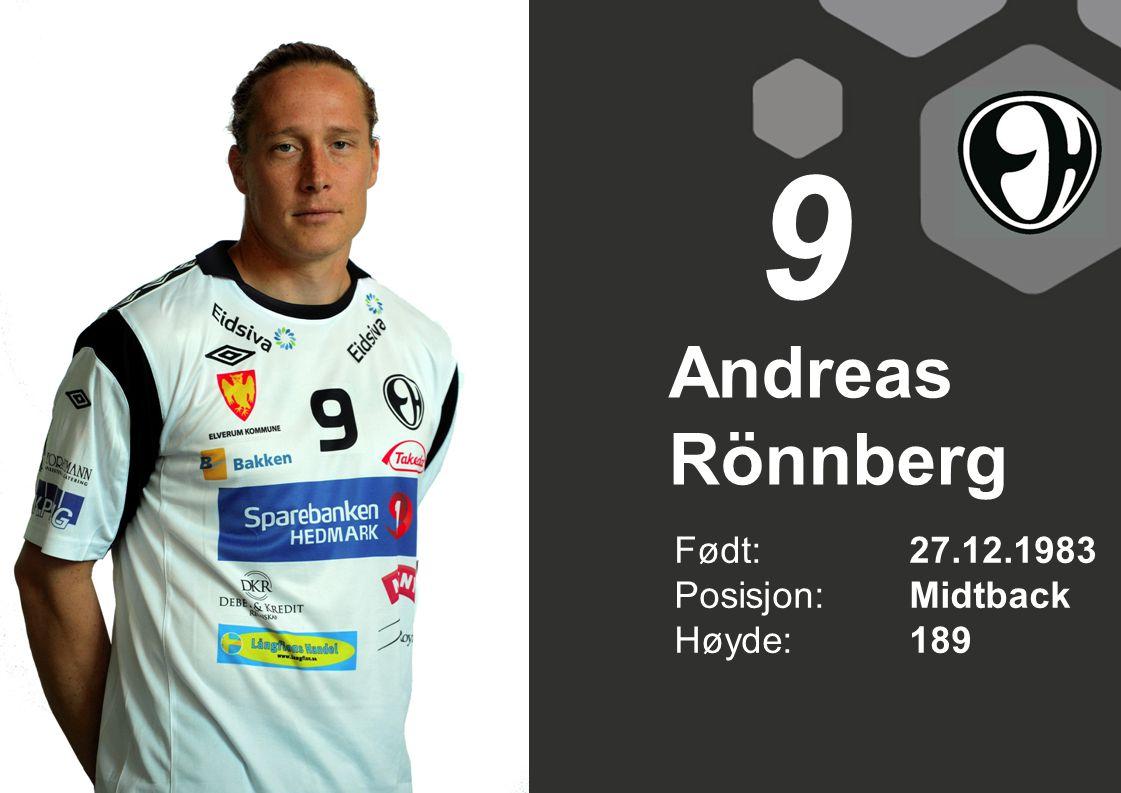 Andreas Rönnberg Født: 27.12.1983 Posisjon:Midtback Høyde:189 9