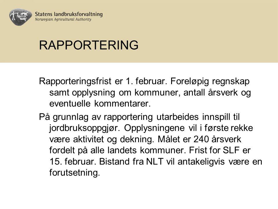RAPPORTERING Rapporteringsfrist er 1. februar. Foreløpig regnskap samt opplysning om kommuner, antall årsverk og eventuelle kommentarer. På grunnlag a