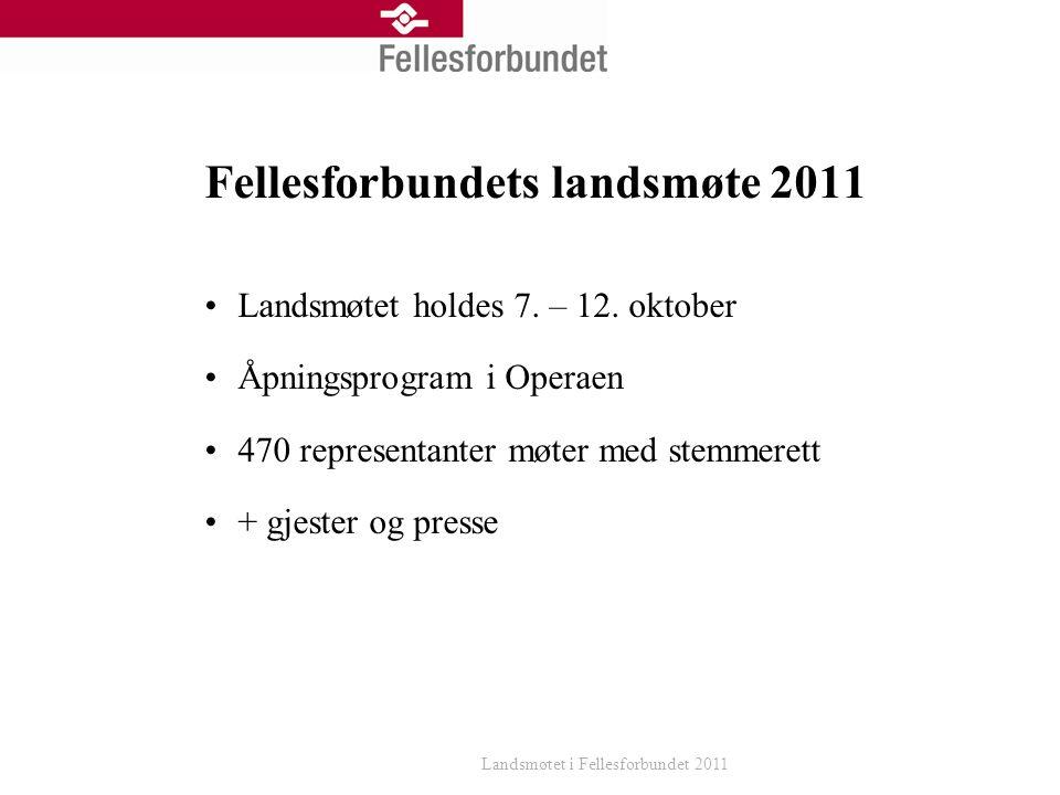 Fellesforbundets landsmøte 2011 Landsmøtet holdes 7.