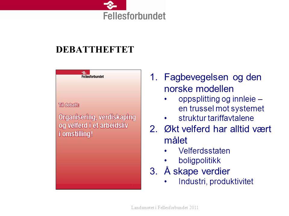 DEBATTHEFTET Landsmøtet i Fellesforbundet 2011 1.Fagbevegelsen og den norske modellen oppsplitting og innleie – en trussel mot systemet struktur tariffavtalene 2.Økt velferd har alltid vært målet Velferdsstaten boligpolitikk 3.Å skape verdier Industri, produktivitet