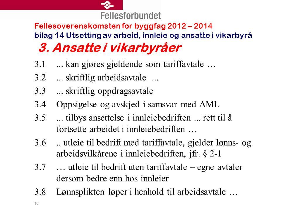 Fellesoverenskomsten for byggfag 2012 – 2014 bilag 14 Utsetting av arbeid, innleie og ansatte i vikarbyrå 3.