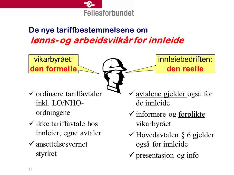 De nye tariffbestemmelsene om lønns- og arbeidsvilkår for innleide ordinære tariffavtaler inkl.